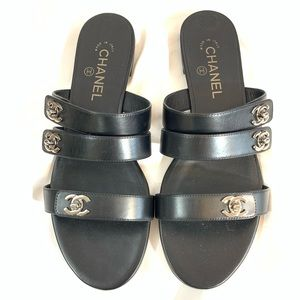 🔥NEW!🔥 CHANEL TURNLOCK SANDALS BLACK LEATHER